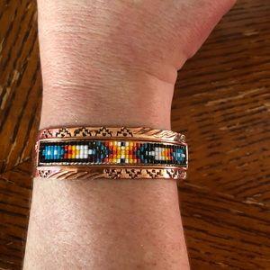 """Jewelry - HALLMARKED COPPER Cuff W/MULTI COLORED BEADS 6.75"""""""